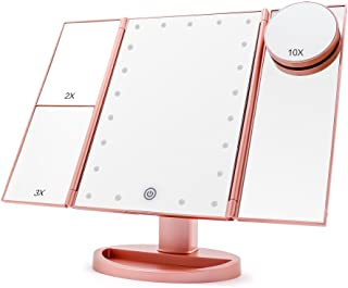 Makeup Vanity Mirror with 21 LED Lights, COSMIRROR Trifold Lighted Makeup Mirror with 1X/2X/3X/10X Magnification and Touch Screen, 180 Degree Rotation, Dual Power Supply Light Up Mirror (Rose gold)