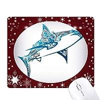 ブルーオーシャンシャーク生物学の魚 オフィス用雪ゴムマウスパッド