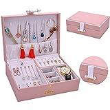 NKDbax Nuevo diseño, estuche organizador de joyas de viaje, soporte de exhibición de cuero liso, caja de almacenamiento de moda, el mejor regalo para mujeres