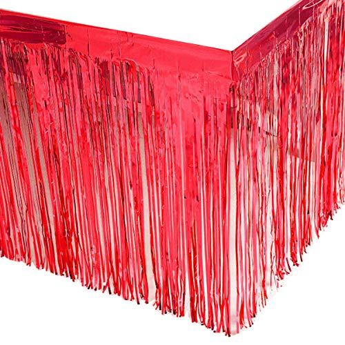 Leegleri 2 Pack Red Metallic Foil Fringe Table Skirt Plastic Tinsel Tale Skirt Garland Banner for Parade Floats Mardi Gras Party Decoration(L108 inH 29in)