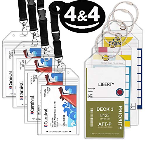 Badge Id Holders Cruise Luggage Tag, Landisun PVC Bags with Zip Seal & Steel Loops of 8 Pack.