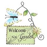 Cabilock Cartelli di Benvenuto A Farfalla in Metallo Benvenuto nel Mio Giardino in Ferro Arte Porta D'ingresso Casa Verde Segno di Benvenuto da Giardino Targa da Giardino Portico Porta