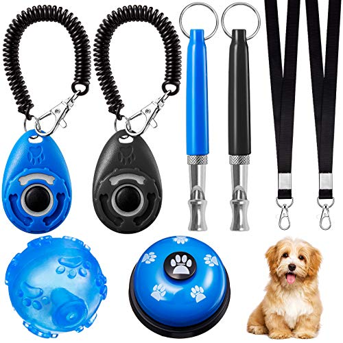 8 Pieces Dog Training Set Include Adjustable Sound Dog Training Whistle with Lanyard Training Clicker Dog Training Bell and Dog Squeak Lighting Ball for Dog Recall Behavioral Silent Training
