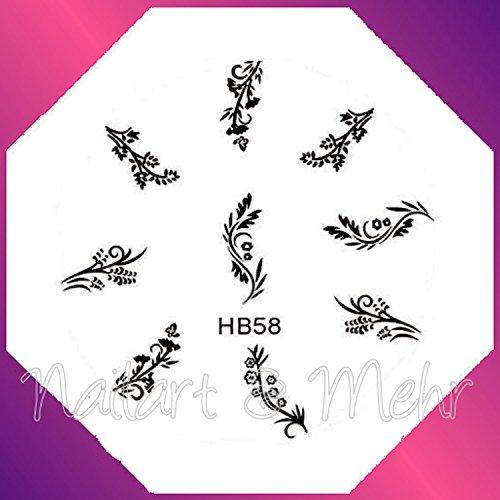 Pochoir de stamping # HB de Ranken de Fleurs 58 ~ ~