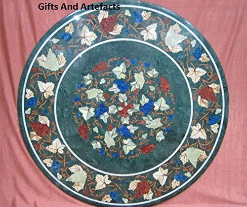 Runde Form Marmor Konferenztisch-Einlage Arbeit mit Halbedelsteinen und Perlmutt Assent Home Möbel, 76,2 cm