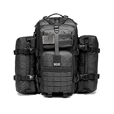 CRAZY ANTS Military Tactical Backpack Waterproof Outdoor Gear for Camping Hiking,Black + 2 Detachable Packs