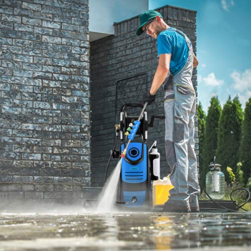 Suyncll Pressure Washer 3800PSI Max 2.8 GPM Electric Pressure Washer With Reel High Power Washer Machine Cleaner with Nozzles, Spray Gun,Detergent Tank For Cleaning Homes,Cars,Driveways,Patios (Blue)
