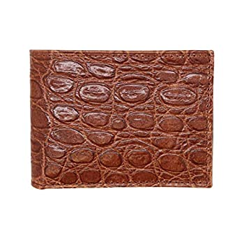 Cognac Genuine Leather Wallet – Alligator Print - RFID Blocking - American Factory Direct - Slim Bill Fold - Made in USA by Real Leather Creations FBA1122