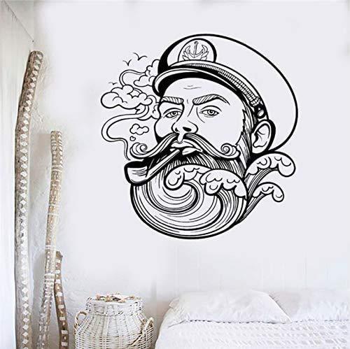 K & Uuml; Hle Vinyl Wandtattoo Seemann Bart Welle Nautical Marine Wandaufkleber F & Uuml; R Jungen Zimmer Home Interior Wand Dekor Wandbild 56X64 Cm