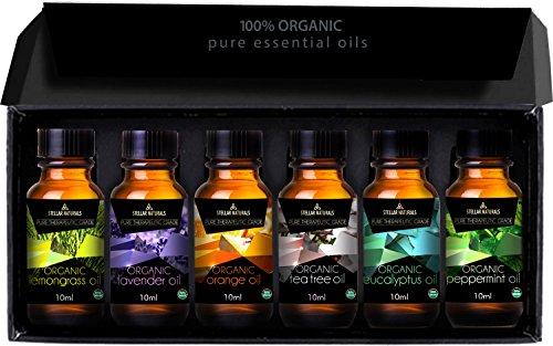 Stellar Naturals Organic Usda Aromatherapy Set Of Lavender, Eucalyptus, Lemongrass, Peppermint, Tea Tree And Orange For Therapeutic Bliss