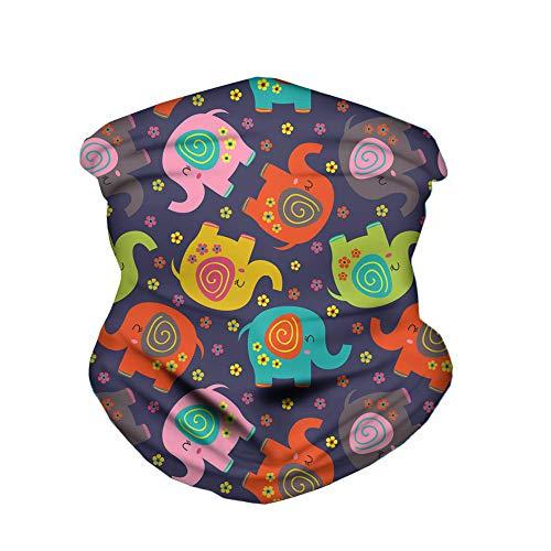 ECONG Elephant Flower Animal Cartoon Bandana Multifonction Guêtres de Cou Écharpe sans Couture Gaiter Neck Rapide Écharpe Salive Dust UV Outdoor Cycling Camping Randonnée