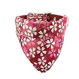 Newtensina Suave Pañuelo Collar de Perro Clásico Flor Sakura Design Lindo Pañuelo para Perros Gatos - Rojo - XS