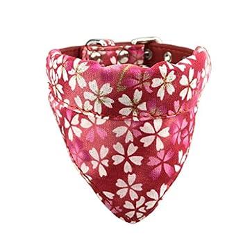 Newtensina Doux Bandana Collier de Chien Classique Fleur Sakura Design Mignon Bandana pour Chiens Chats - Rouge - XS