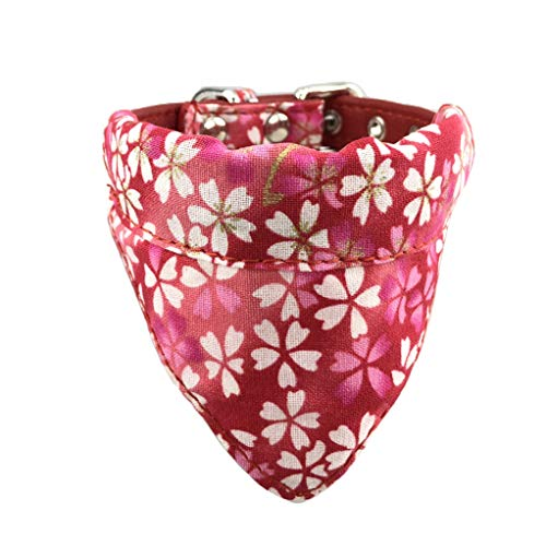 Newtensina Weich Bandana HundeHalsband Klassisch Blume Sakura Design Süß Bandana für Hunde Katzen