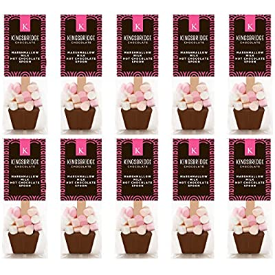 10 pack of marshmallow milk hot chocolate spoons Kingsbridge Chocolate – Marshmallow Hot Chocolate Spoons   A Stir Stick with Delicious Melting Belgian Chocolate and… 51AYLjQ8QYL
