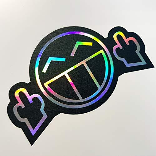 folien-zentrum Fuck You Smiley 7x12cm Auto Aufkleber Oilslick schwarz Farbwechsel Rainbow Flip Flop Hologramm Metallic Effekt JDM Tuning Sticker Decal Fun