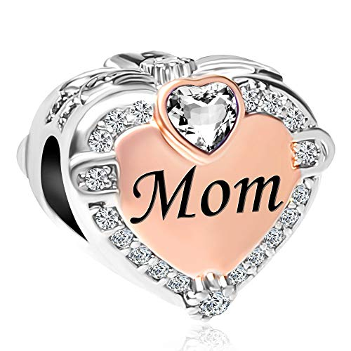 CharmSStory Heart Mom Rose Gold Plated Charms Beads for European...