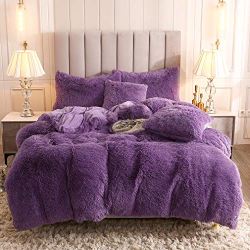 Uhamho Faux Fur Velvet Fluffy Bedding Duvet Cover Set Down Comforter Quilt Cover with Pillow Shams, Ultra Soft Warm and Durable (King, Purple)