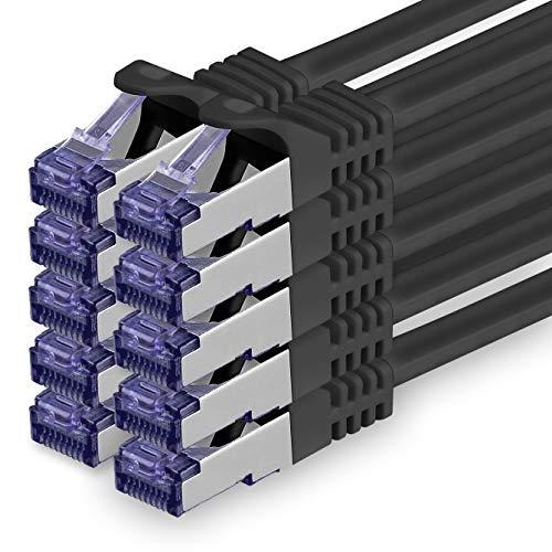 Cat.7 Netzwerkkabel 1m - Schwarz - 10 Stück - Cat7 Patchkabel (SFTP/PIMF/LSZH) Rohkabel 10 Gb/s mit Rj 45 Stecker Cat.6a - 10 x 1 Meter Schwarz