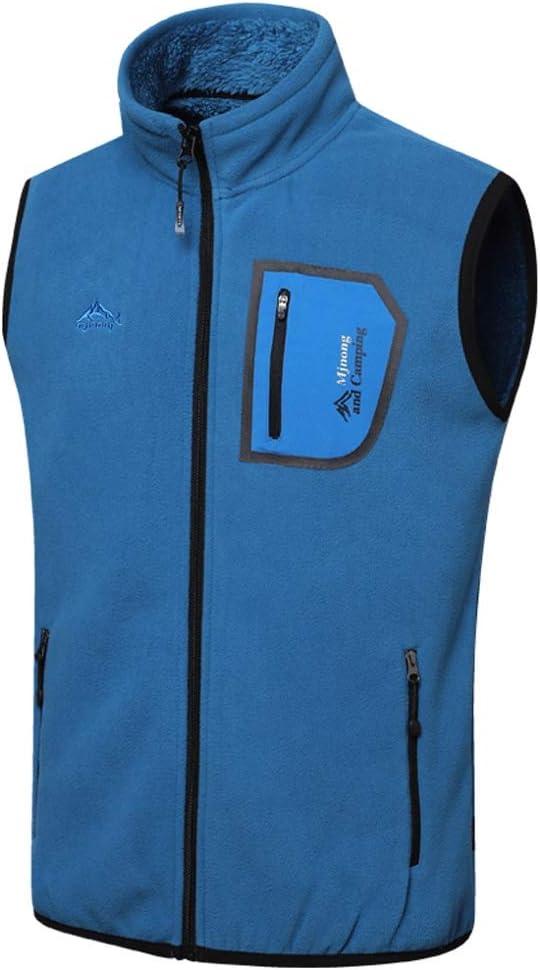 TXXM Cotton Vest Winter Men's Thick Vest Sleeveless Jacket Large Size Multi-Pocket Outdoor Vest Shoulder Coat (Color : Blue, Size : XL)