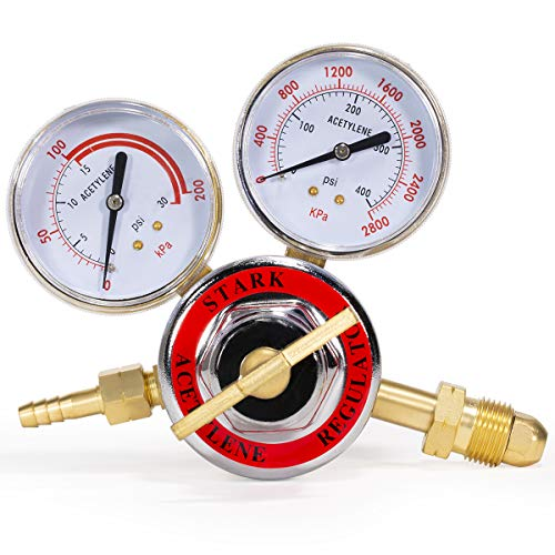 Stark Welding Gas Welder Acetylene Regulator Compatible with Torch Cutting Kits CGA 510 (0-400 PSI/Outlet 0-30 PSI)