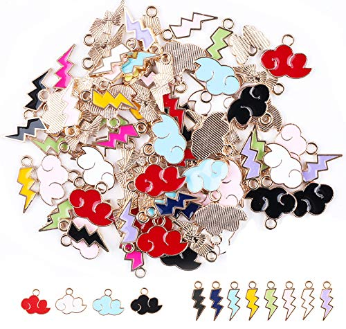 90 Pieces Gold Plated Enamel Cloud Lightning Charms Pendant for Jewelry Making, Mixed Colorful Enamel Alloy Pendant Charms for Necklace Bracelet Earring and Slime DIY Jewelry Accessories Charms