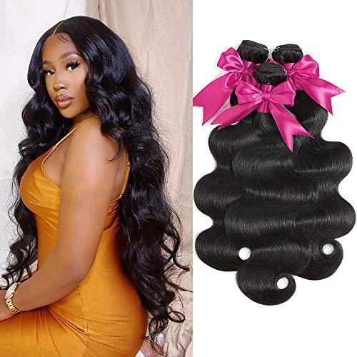 9A Body Wave Human Hair Bundles 100% Virgin Brazilian Hair 3 Bundles (20 22 24 Inches) Weave Hair Human Body Wave Bundles Unprocessed Remy Weave Hair Bundles