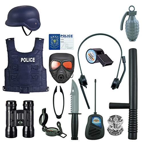 Macium 15 Piezas Policía Disfraz Niño con Policía Equipo Policía Chaleco Gorra Placa Policía Esposas Gafas de Sol Walkie Talkie Policía Juguete Kit para Niños