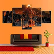 ERSHA 5 Pcs Canvas Hd Prints Non-Woven Pictures Abstraction Art Stretched Framed Artwork Home Office...