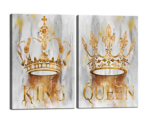 Couples Annivesary Wedding Gifts for Living Room Bedroom Bathroom Romantic Queen and King Crown Canvas Wall Art for Game Room Wall Home Decor Printed Stretched and Framed Ready to Hang 2 Piece