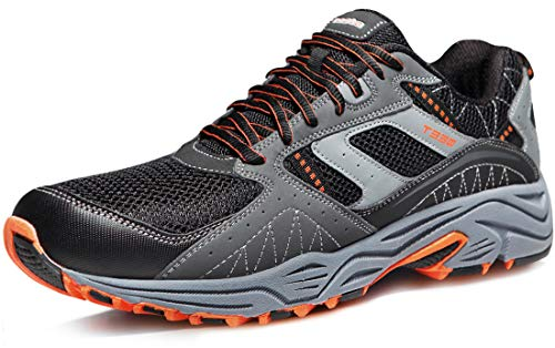 TSLA Men's Outdoor Sneakers Trail Running Shoe, All Around(t330) - Light Grey & Orange, 11