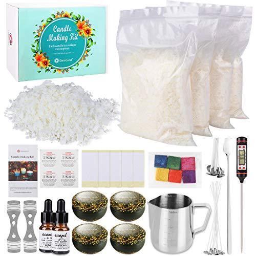 Genround Kit de Fabricación de Velas, 1000 g de Cera de Soja, Tarro de Estaño, Mechas, Tintes, Juego Completo para Hacer Velas de Bricolaje