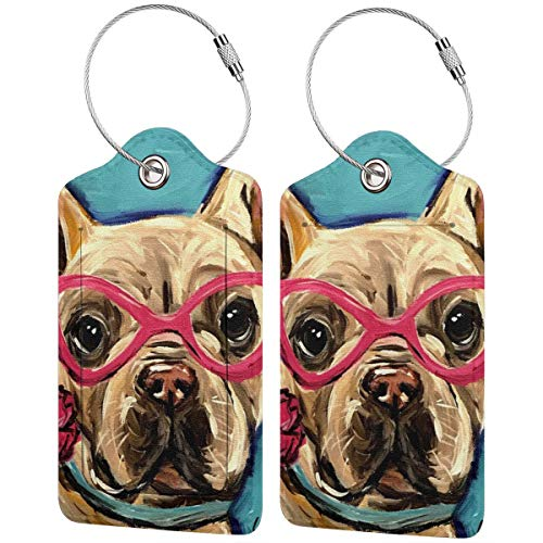 French Bulldog Personalized Leather Luxury Suitcase Tag Set Travel Accessories Luggage Tags