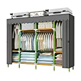 YOUUD 79 Inches Armoire Wardrobe Closet Storage Organizer Cloth Closet Colored Rods and Grey Cover Portable Closet, Quick and Easy to Assemble, Extra Sturdy, Strong and Durable