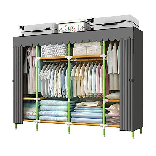 YOUUD 79 Inches Armoire Wardrobe Closet Storage Organizer Cloth Closet Colored Rods and Grey Cover Portable Closet Quick and Easy to Assemble Extra Sturdy Strong and Durable