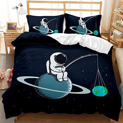 LWtiao-x Children's bedding-3D Astronaut Outer Space Duvet Cover + Pillowcase, Zipper, Cartoon Children's Bed Sheet (a5,155x220cm+50x75cmx2)