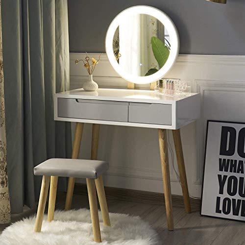 eklipt - Tocador de Maquillaje, Espejo de Mesa de cosméticos Vanity tocador, Mueble de Maquillaje de Dormitorio, con Taburete con LED Espejo, Blanco, 2 cajones, Espejo Redondo