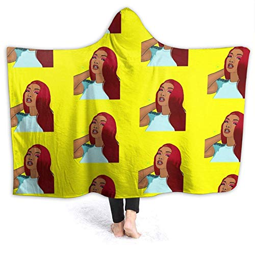 XCNGG Manta con capucha Hooded Blanket Megan Thee Stallion Comfortable Throw Blankets for Four Seasons Anti Pilling Flannel Wearable Blanket Suitable for Sofa Blankets for Adults and Children, Bed Bla