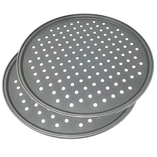 Space Home - Molde para Pizza con Agujeros - Acero al Carbono - Recubrimiento Antiadherente - Diámetro 32 cm - Set de 2