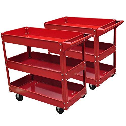 Chariot servante d'atelier en acier 100 kg rouge et Taille des pneus : Ø 9,5 cm