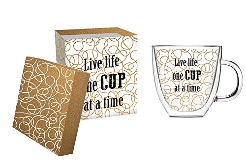 Cypress Home One Cup at a Time Glass Coffee Cup, 12 oz