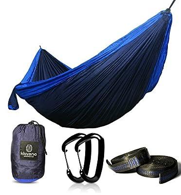 Premium Kiwano Hammock - Double Parachute Nylon Travel Hammocks with x2 +-10ft Tree Straps & x2 Aluminium Wiregate Carabiners