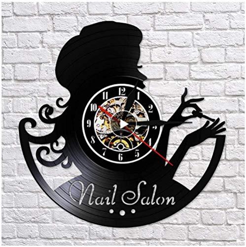 Reloj de Vinilo para niña, manicura, Registro de Vinilo, Reloj de Pared, diseño Moderno 3D, Oficina, Bar, habitación, decoración del hogar, Arte Creativo, Reloj de Pared, Regalo