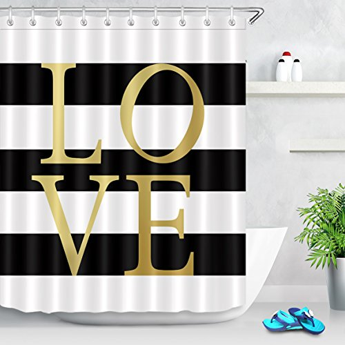 Black and White Striped Shower Curtain,Classic Gold Love Shower Curtain Bathroom Decor,Waterproof Polyester Fabric Curtain 69x72 Inch with 12 Hooks
