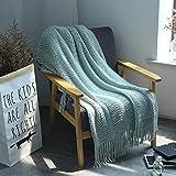 Nordic KnitteThrow ThreaSofa Fußbett auf dem BeSofa PlaiTravel TV Multifunktions-Nap Fußbett Mans Tagesdecke-Seegrün Style B,L 120x210cm