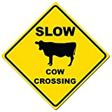 Dark Spark Decals Slow Cow Crossing Caution Sign - 11' Diamond Aluminum Caution Sign - Made in The USA