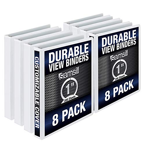Samsill 3 Ring Durable View Binders - 8 Pack, 1 Inch Round Ring, Non-Stick Customizable Clear Cover, White
