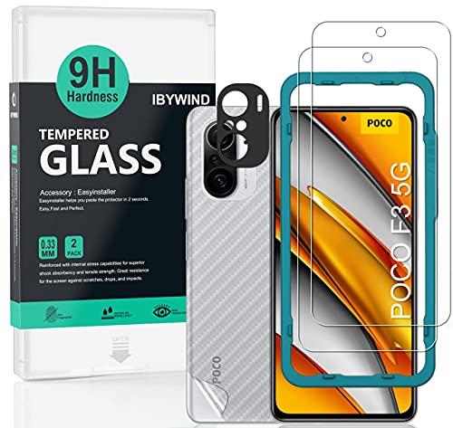 Ibywind Cristal Templado para POCO F3 5G/Xiaomi Mi 11i 5G, [2 Piezas],con Protector de Lente de Cámara(Negro),Atrás Pegatina Protectora Fibra de Carbono,Incluyendo Kit de instalación fácil