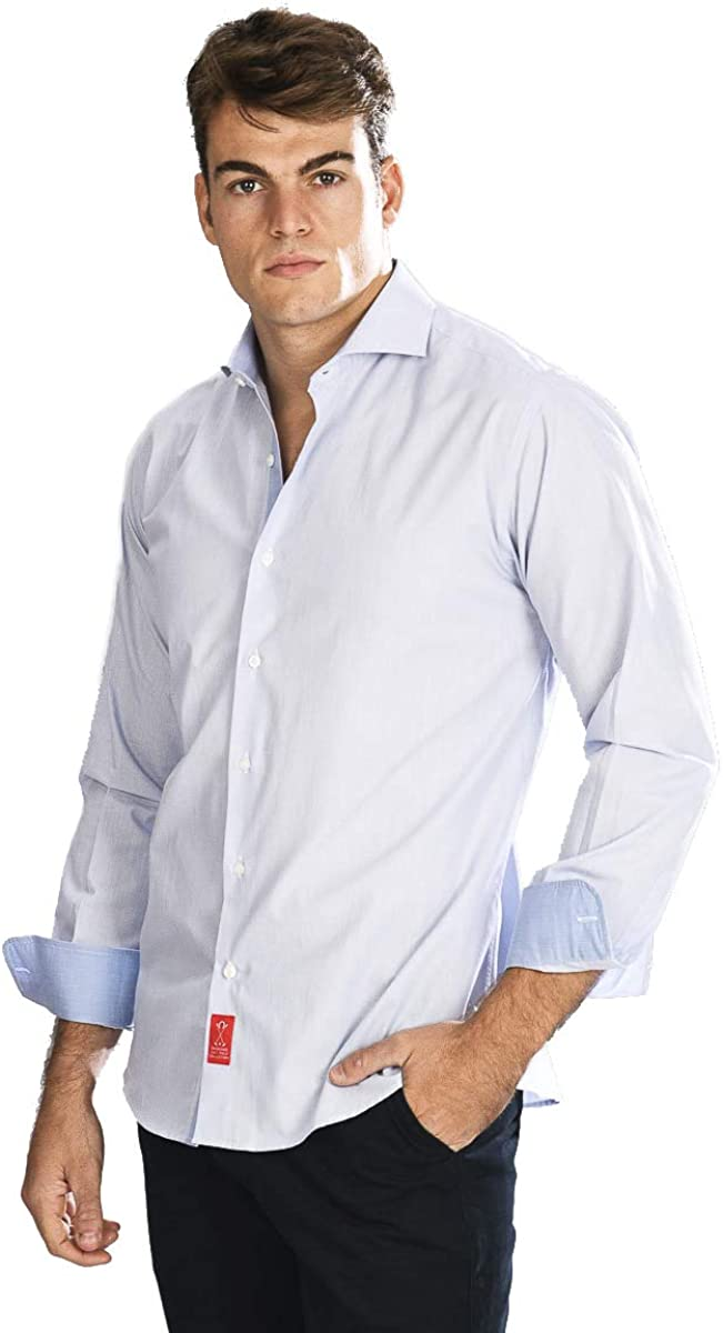 Camisa Manga Larga de Vestir, semientallada con Rayas ...