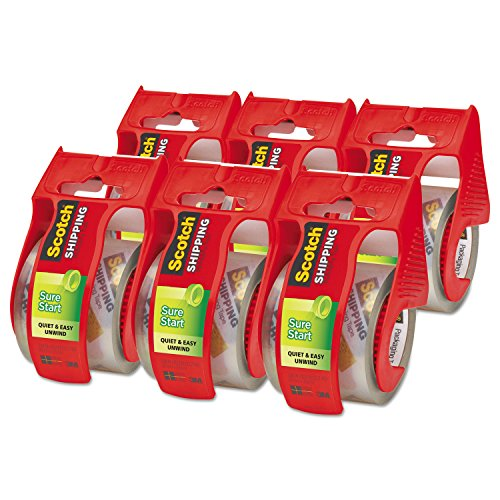 """Scotch Sure Start Shipping Packaging Tape, 6 Rolls with Dispenser, 1.88"""" x 22.2 Yards, 2"""" Core, Great for Packing, Shipping & Moving, Clear (145-6)"""